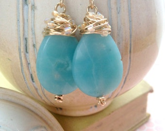 Amazonite Drop Earrings, Brass, Handmade