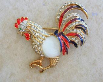 Rooster Vintage Goldtone Pin Brooch Enamel Feathers Moonstone Body Rhinestones