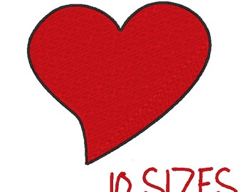 Red Heart Embroidery design. 10 Sizes