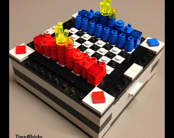Travel Chess & Checkers made w/ LEGOs, PDF Instructions Only