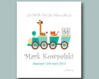 Baby Boy Baptism Gift - Christening Gift - Joshua 1:9 - Personalized Baptism Gift - Gift from Godparents - Toy Train Nursery Wall Decor