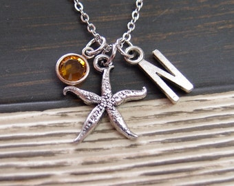 initial necklace, silver starfish necklace, birthstone necklace,  nautical jewelry, gifts for bridesmaid, wedding on beach