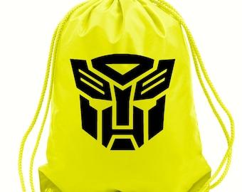 Transformers gym bag,pe bag,school bag,water resistant drawstring bag.black,yellow or green