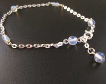 Opale and silver chain ankle bracelet