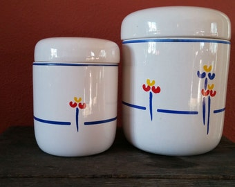 Riva Designs Tulips Ceramic Canisters, Set of Two