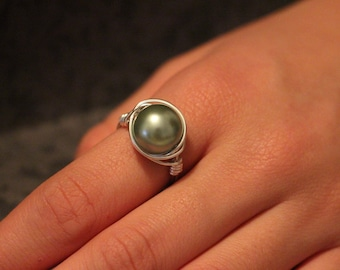 Light Green Pearl Silver Wire Wrapped Ring Jewelry, Wire Beaded Ring, Any Size