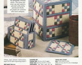 Cute Checkers Tissue Box Cover and Coasters in Plastic Canvas