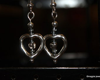 Double Heart Earrings with Gunmetal seed beads