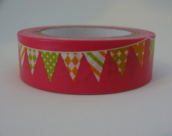 Washi masking pink tape with triangle flags 10 m/11 yards decorative crafting tape washi tape cardmaking tape scrapbook tape birthday washi