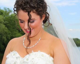 Swarovski crystal and pearl necklace, Simple crystal teardrop bridal necklace, Vintage wedding necklace