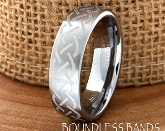 Celtic Tungsten Ring Band Any Design Wedding Band Customized Domed Laser Engraved Ring Unique New Modern Classic 7mm Celtic Pattern Band