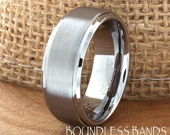 Tungsten Wedding Band Customized Tungsten Band 8mm Laser Engraved Mens Womens Tungsten Ring Anniversary Couple Band His Hers New Ring Design