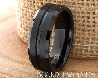 Black Tungsten Wedding Band Ring Beveled Edges Grooved Customized Tungsten Band Any Design Laser Engraved Ring Mens Tungsten Ring His Hers