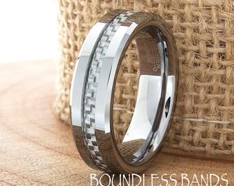 Grey Carbon Fiber Inlay Tungsten Wedding Ring Mens Wedding Band Custom Laser Engraving Personalized Ring New Design Classic Modern Fashion