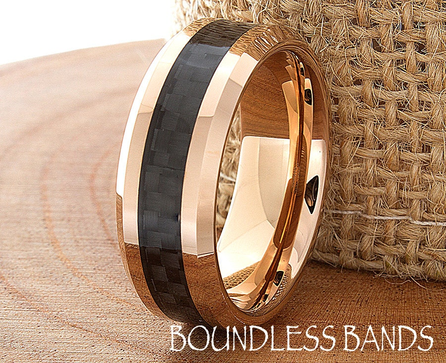 Tungsten Rose Gold Wedding Band Polished Beveled By BoundlessBands