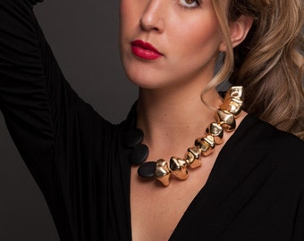 Tess.  Gold and Black Nugget Necklace.