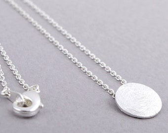 Brushed Silver Circle Disk Necklace