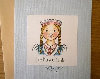 Lithuanian Greeting Card Lietuvaite by Rima Macikunas Lithuanian Girl