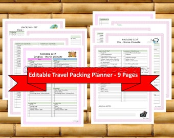 Travel Planning, Pink TRAVEL PACKING List, Travel Planner, Holiday Planner, Planner, 9 pages, Editable PDF, Printable, Instant Download T117
