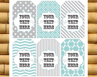 Gift Tags, Thank You Tags, Party Favor Tags, Baby Shower, Wedding Shower, Editable, Teal, Grey, Cheron, Printable, Instant Download - TFD238