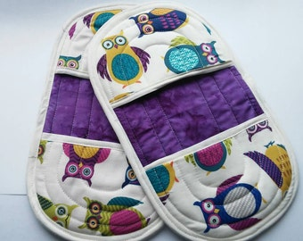 Owl Pot Holder, Pot Holder, Purple Oven Mitts, Owl Kitchen Linen, Owl Oven Mitt, Oven Mitt, Finger Tip Oven Mitt, Purple Pot Holder,