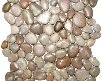 Hand Made Pebble Tile - Glazed Berry 1 sq. ft. - Use for Mosaics, Showers, Flooring, Backsplashes and More!