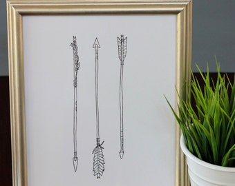 Arrows Line Drawing, reproduction from original ink drawing