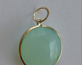 14k solid gold and aqua chalcedony large charm pendant