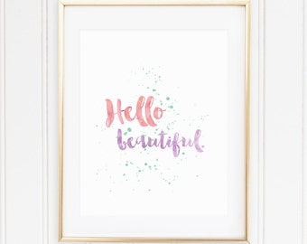 PINK, PURPLE, MINT, Nursery Wall Art, Nursery Art, Nursery Decor, Watercolor, Hello Beautiful, Printable, Instant Download