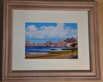 "Framed Photography of Watson Lake in Prescott, Arizona, ""Clouds Over Watson Lake"", matted and framed 11x14 wall art, nature lake photography"