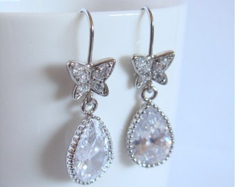 Crystal and silver butterfly earrings - Dangle earings - Wedding earrings - Bridesmaids earrings - Cubic crystal drop earrings