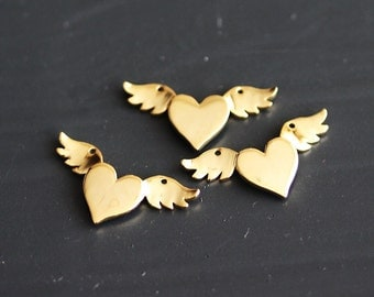 P1-764-G] Heart Wings / 20 x 10mm / Gold plated / Pendant / 2 pieces
