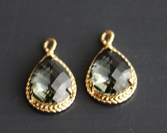 A2-072-G-CC] Charcoal / 12 x 19mm / Gold plated / Teardrop Pendant /  2 pieces
