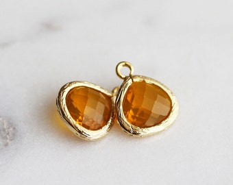 A2-005-G-H] Honey / 10mm / Gold plated / Glass Pendant / 2 pieces