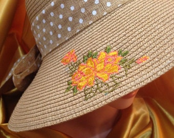 Embroidery Summer Straw Hat with Yellow Rose