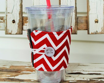 Reusable Fabric Cold Beverage Sleeve, Cold Beverage Cozy in a Red Chevron