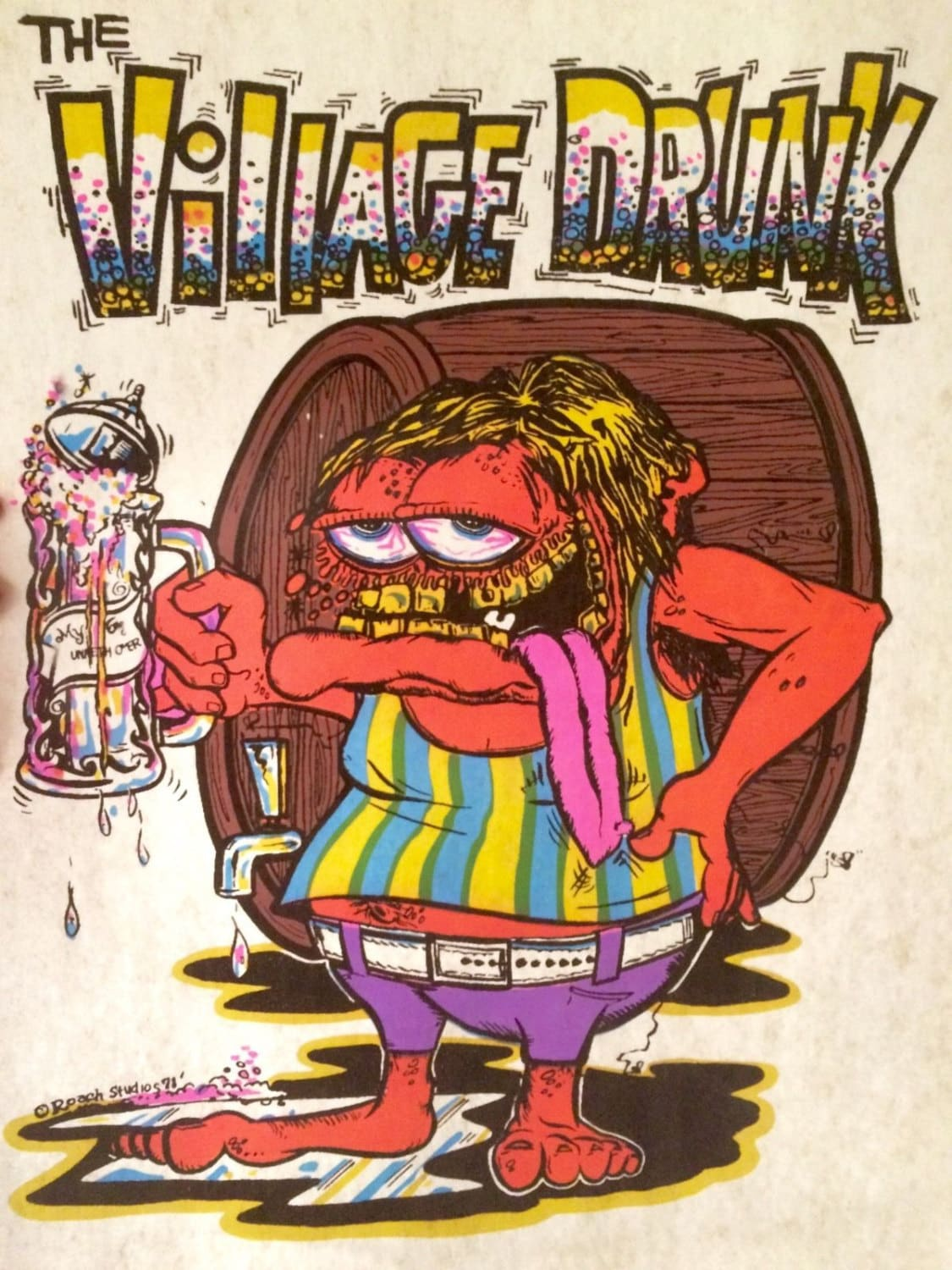 Roach iron on transfer 70 39 s the village drunk nos for 70 s t shirt transfers