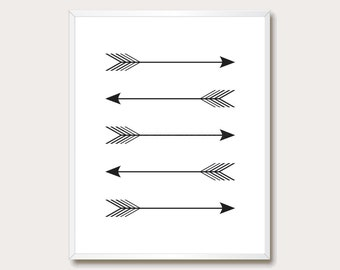 Arrow Print. Black Arrow Wall Art. Black and White. Tribal Arrow. Printable. Prints. Modern Home. Arrow Download.