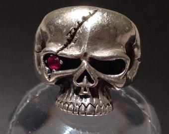 Skull Ring, Vintage Silver Skull ring, Sterling Silver