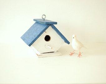 Vintage Wood Bird House . Blue and White Birdhouse . Outdoor Garden Decor . Cottage Chic