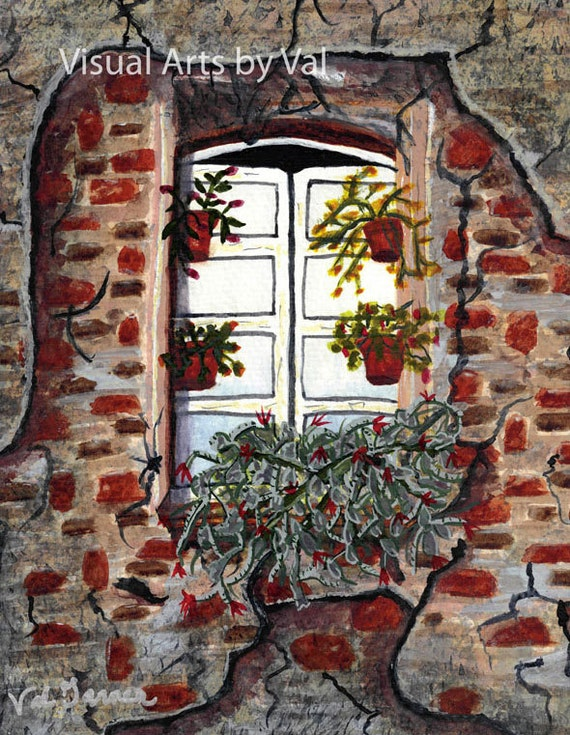 Watercolor Painting 'Beauty After Destruction' Window Fine Art Printed Professionally with Giclee on Watercolor Paper