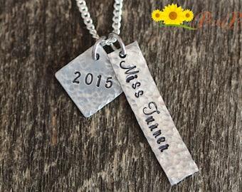 Hammered Teachers Necklace - Hand Stamped Teacher's Jewelry - Teachers Present - Year End Teacher Gift - Retirement Gift for Teachers