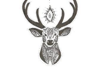 Drawing tribal deer head, India ink, hippie.