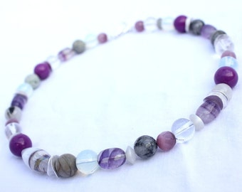 Chain with fluorite in shades of purple