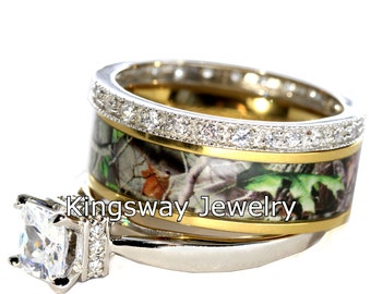 3 piece Hers Gold Camo Set 925 Sterling Silver