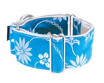 Blue martingale collar, martingale collar, greyhound collar, 2 inch, dog collars, martingale dog collar, martingale dog collars, blue