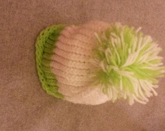 hand knitted green and white booble hat