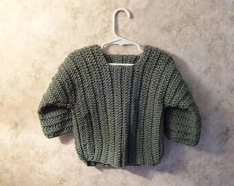 Sage Green 3/4 Sleeve Toddler Crochet Pullover