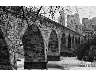 Stonearch Bridge/black and white photography/Minneapolis skyline/bridge/landmark/print/wall art