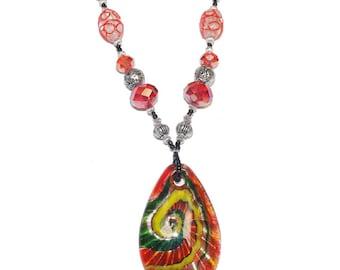 Bright Red Hawaiian beaded Necklace New